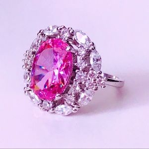 NEW! LARGE OVAL PINK SAPPHIRE & SWAROVSKI CRYSTAL